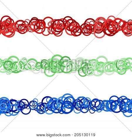 Abstract circle pattern webpage separator line design set from red, green and blue colored rings - repeatable vector graphic design elements