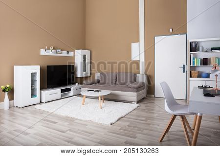 Interior Of Contemporary Living Room With TV And Sofa