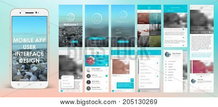 Design of mobile applications, UI, UX, GUI. Set with a welcome window, registration, home page, news search, chat and settings