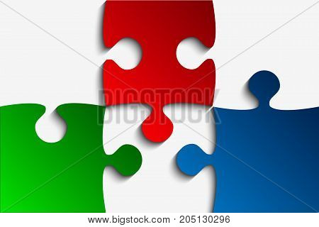 Three RGB Piece Flat Puzzle Round Infographic Presentation. 3 Step Rectangle Business Diagram. Four Section Compare Service Banner. Vector Illustration Template Shape.