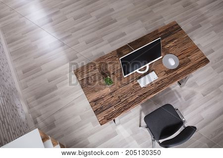 High Angle View Of Monitor On A Desk In A Modern Office