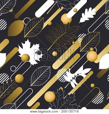 Autumn Vector Seamless Pattern In Golden, Black And White Colors. Outline Fall Leaves And Motion Geo
