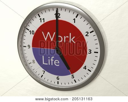 Watch hanging on a wall with 2 different time zones nine to five for work and 5 to 9 for life work-life balance concept 3D illustration
