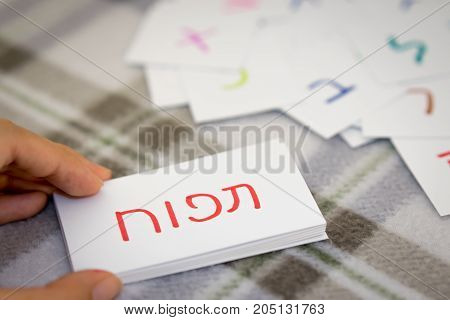 Hebrew; Learning The New Word With The Alphabet Cards