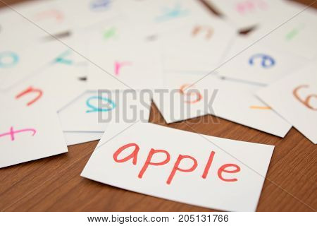 English; Learning The New Word With The Alphabet Cards
