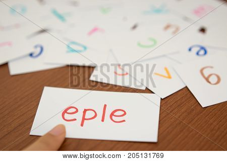 Norwegian; Learning The New Word With The Alphabet Cards; Writing Apple