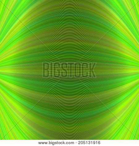Abstract symmetrical motion background from thin curved lines in green tones - vector graphic design