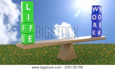 Seesaw on green grass on a sunny day with green dice showing life in focus and blue cubes showing life in the background work life balance concept 3D illustration