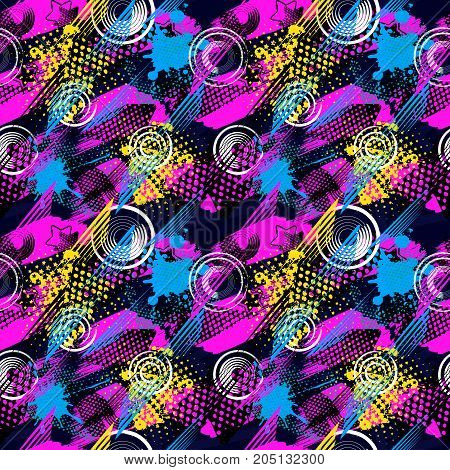 Abstract seamless pattern for girls boys clothes. Creative vector background with dots geometric figuresstripes inscriptions.Funny wallpaper for textile and fabric. Fashion style. Colorful bright.