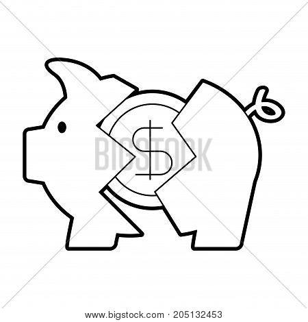 banking piggy broken coin dollar crisis vector illustration