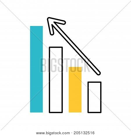 business graph with arrow financial stock data vector illustration
