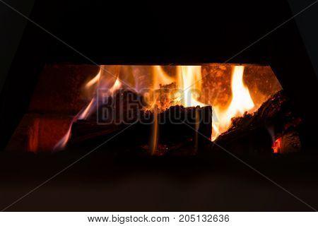 Log Fireplace Burning Warmly
