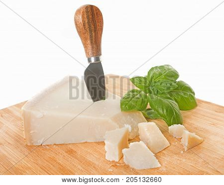 parmesan cheese in front of white background