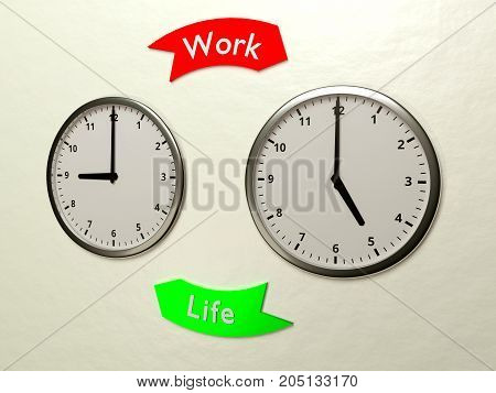 Two clocks on the wall showing the time nine and five and two arrow between them work life balance concept 3D illustration