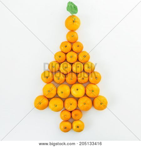 Mandarin. Christmas tree. Flat lay. White Background