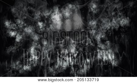 Happy Halloween. Human Skull With Smoke And Fire 3D Rendering