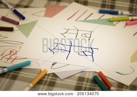 Hindi; Kids Writing Name Of The Fruits For Practice