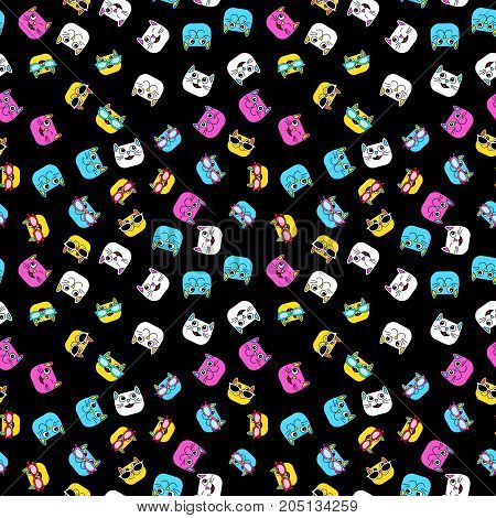 Abstract seamless pattern for girls boys clothes. Creative vector background with cat glasses eyes mustache.Funny wallpaper for textile and fabric. Fashion style. Colorful bright.