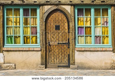 Colorful traditional entrance in an old half-timbered house.