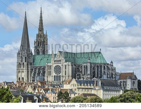 The south view of Cathedral of Our Lady of Chartres France.