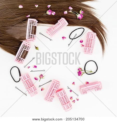 Hair and women's curlers. Flat lay. Top view.