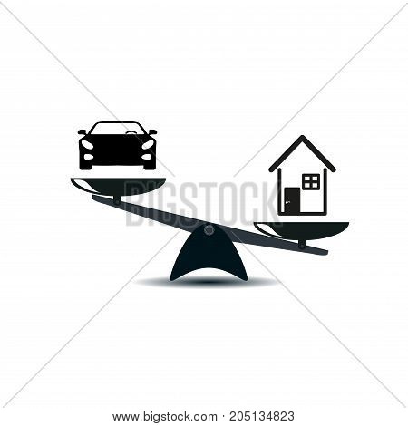 Car and house on a scales icon, vector. Scales with cars and house in style. the advantage is given house. vector illustration
