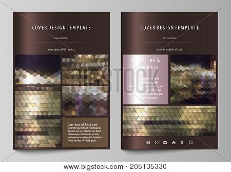 Business templates for brochure, magazine, flyer, annual report. Cover design template, vector layout in A4 size. Abstract backgrounds. Geometrical patterns. Triangular and hexagonal style