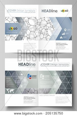 Business templates for bi fold brochure, flyer. Cover design template, vector layout, A4 size. Chemistry pattern, molecular texture, polygonal molecule structure, cell. Medicine microbiology concept