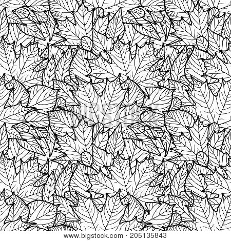 Seamless pattern with leaves. Black and white outline vector image. Adult coloring page