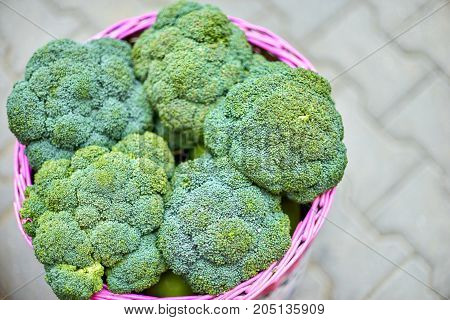Green Vegetable. Organic Food Form India. Broccoli In A Basket.