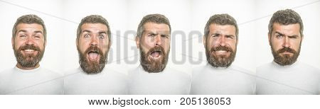 emotion set of bearded man collage with happy surprised scared serious and sad face isolated on white background