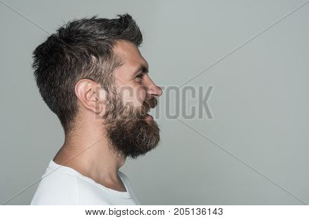 Man With Long Beard On Happy Face