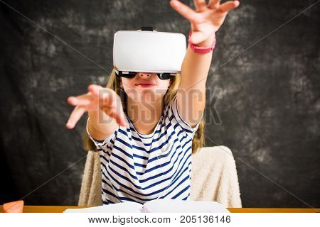 Teenage Girl With Virtual Reality Glasses