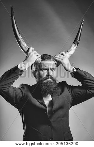 Bearded Handsome Man With Antlers