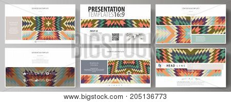 Business templates, HD format for presentation slides. Abstract vector layouts in flat design. Tribal pattern, geometrical ornament in ethno syle, ethnic hipster backdrop, vintage fashion background
