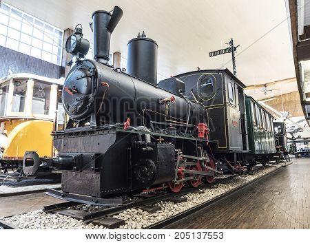 ZAGREB, CROATIA - JULY 18, 2017: Ancient locomotive in the Tesla Museum in Zagreb.