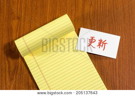 Renew; White Blank Documents With Small Message Card.