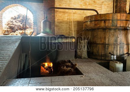 View of the process of mezcal distillation in Oaxaca Mexico