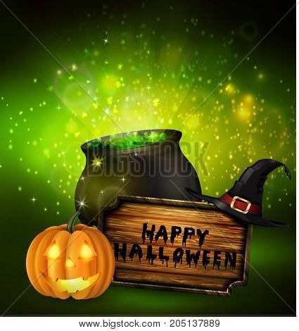 Scary Jack O Lantern halloween pumpkin with candle light inside wooden sign and witch hat and witch cauldron on fantastic background vector