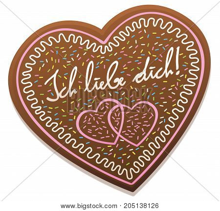 ICH LIEBE DICH - german for I love you - written on a typical bavarian gingerbread heart from original Oktoberfest in Munich. Isolated vector illustration on white background.