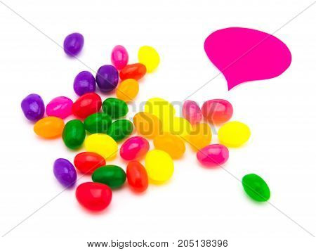 Colorful Balloons And Jelly Beans (white Background)