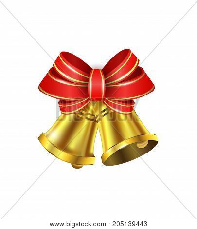 Vector Gold Christmas bells with a bow and stipes