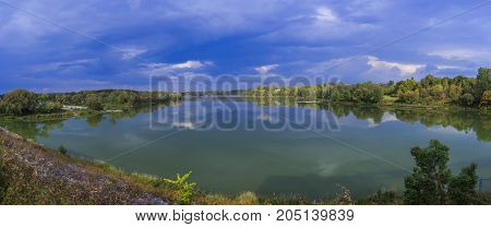 Panorama of lake with clouds. North America