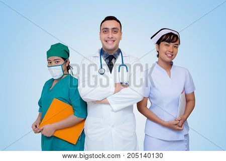 healthcare - profession - people and medicine concept - Professional general practitioners expressing positive emotions.