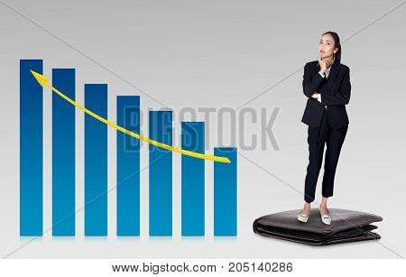 View of a businesswoman with standing wallet thiniking about business with graph finance concept.