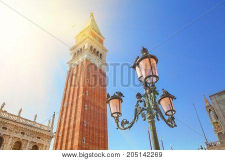 sun shining over San Marko Square in Venice