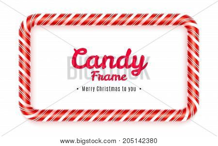 Realistic rectangular Candy frame isolated on white background. Christmas caramel frame with red striped texture. Sweet decoration for Christmas card. Blank lollypop frame design. Vector illustration