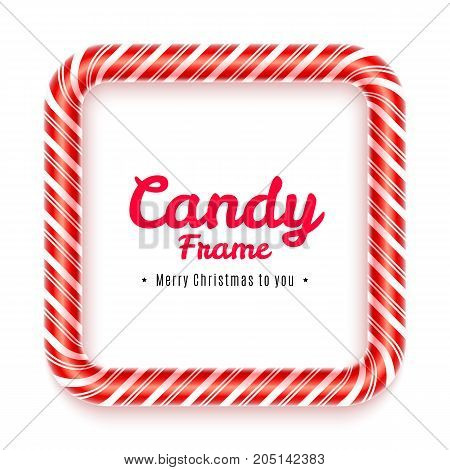 Realistic square Candy frame isolated on white background. Christmas caramel frame with red striped texture. Sweet decoration for Christmas card. Blank lollypop frame design. Vector illustration