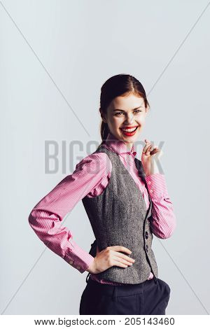Laughing girl in a suit, office worker