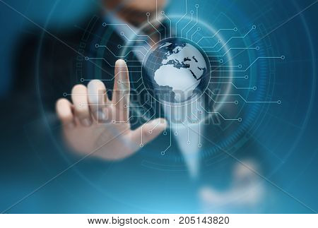 Digital Global Network. Business Internet Technology Concept. Businessman presses touch screen.
